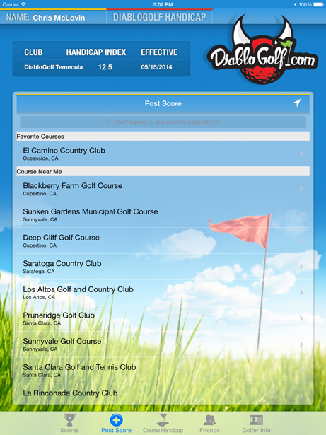 The Diablo Golf Handicap Track for iOS | GHIN | USGA